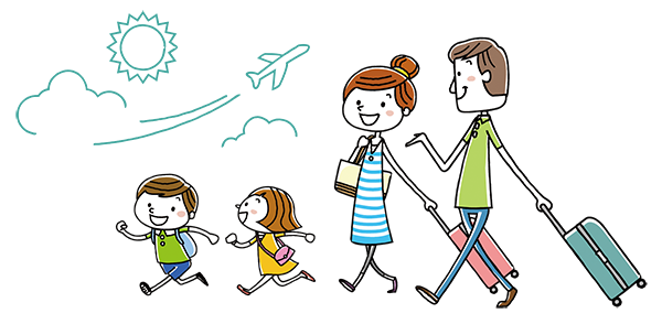 子連れで飛行機にのって海外へ!子供がぐずらない過ごすアイディア15のイメージイラスト
