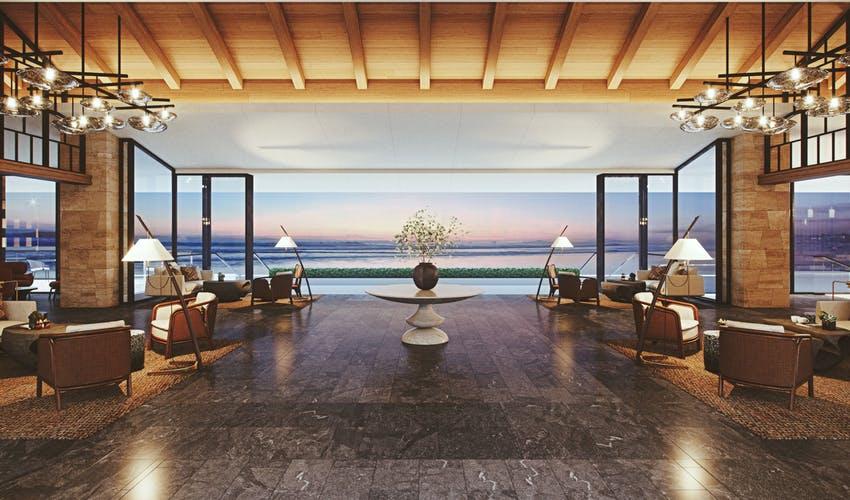 ハレクラニ沖縄 予約 料金 海を眺めるラウンジの写真 夕日