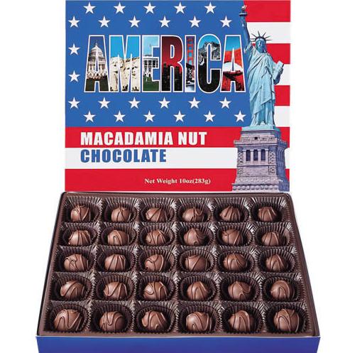 アメリカのおみやげのマカデミアナッツ入りチョコレートの写真