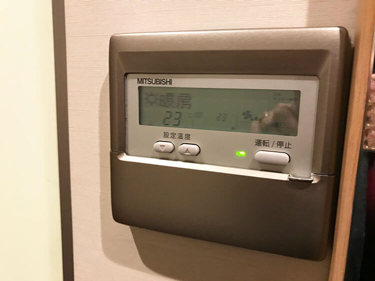 福岡天神ホテルユニゾに泊まってみた!【タリーズの上でべんり&眺めがすごくいい】エアコンの写真